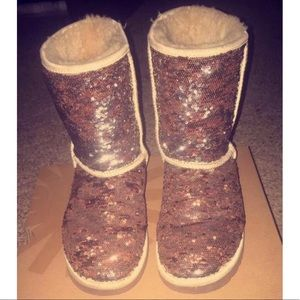 Silver and champagne sequin uggs